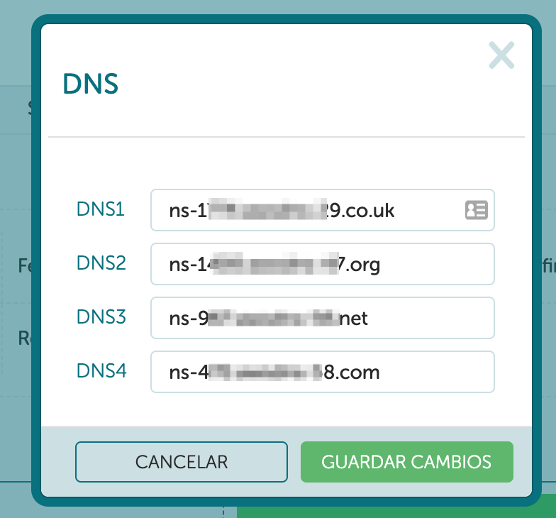configuración DNS en proveedor de dominio