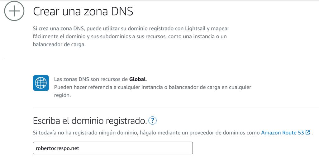 Crear zona DNS
